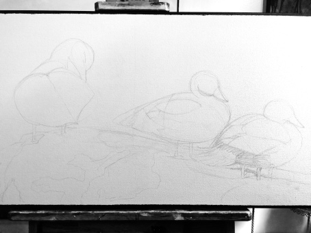 Sitting Ducks on my easel