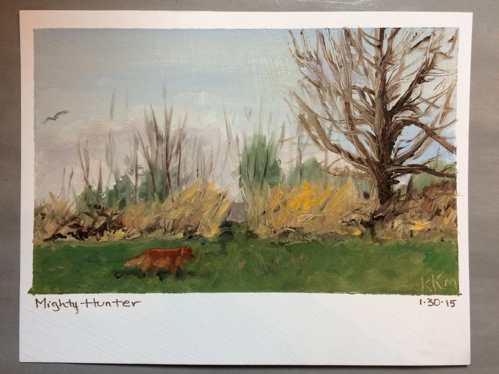 En Plein Air piece--painted while sitting on grass.  Burrrrr!