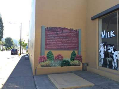 This sign used to be a few blocks away, originally put up in 1971 by GFWC.  It had to be moved and they commissioned me to add it to this wall.  I'm so glad they did because it really ties the whole mural together and tells the history of where Battle Ground got its name.
