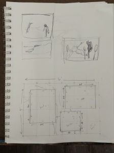 the scale of the mural and each of our pieces.  Also, some very rough thumbnail ideas I was playing with.