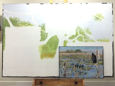 Start of the big oak and the location where my painting will go.