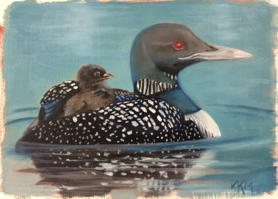 L is for Loon--Common Loon and baby