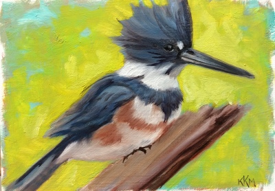 Finished painting of a female Belted Kingfisher