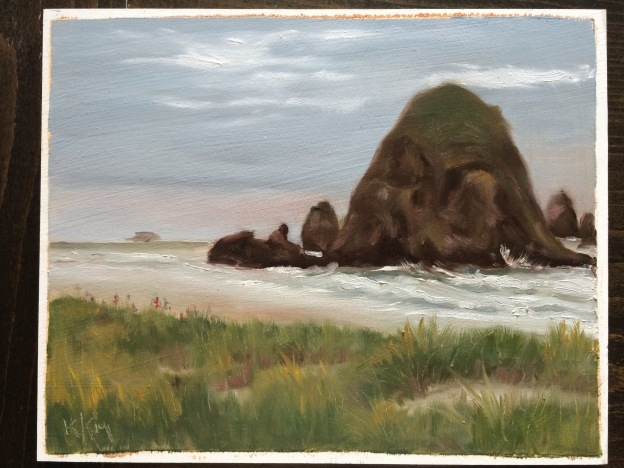 A little plein air piece I did back in June at Cannon Beach, OR.